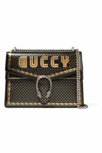 Gucci - Dionysus Printed Textured-leather Shoulder Bag - Black