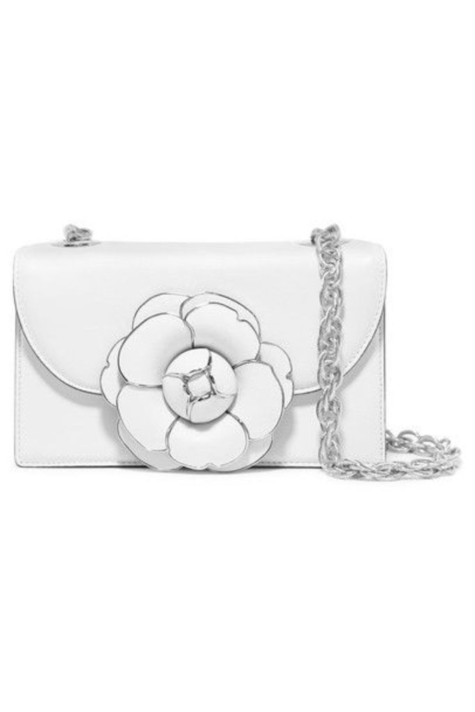 Oscar de la Renta - Tro Embellished Leather Shoulder Bag - White