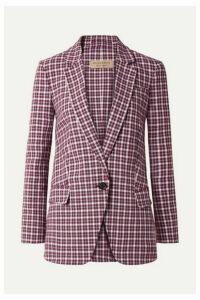 Burberry - Checked Cotton-blend Blazer - Plum