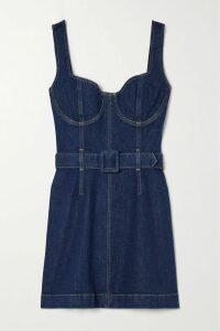 Erdem - Elin Cold-shoulder Striped Silk-satin Top - Blue