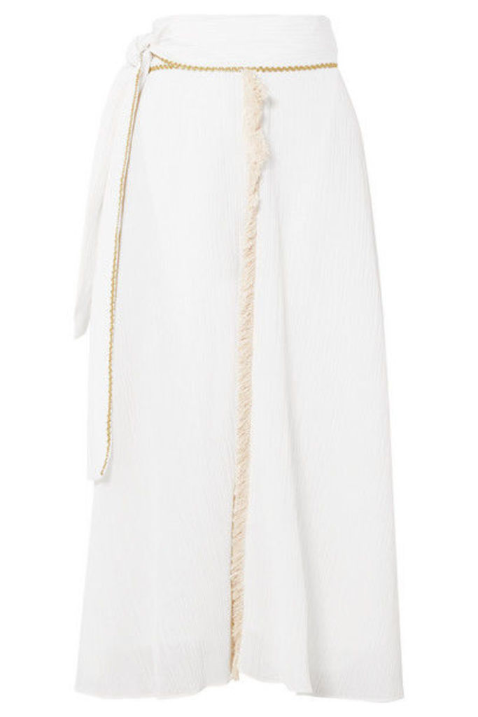 Zeus+Dione - Petala Fringed Plissé Cotton And Silk-blend Skirt - Ivory