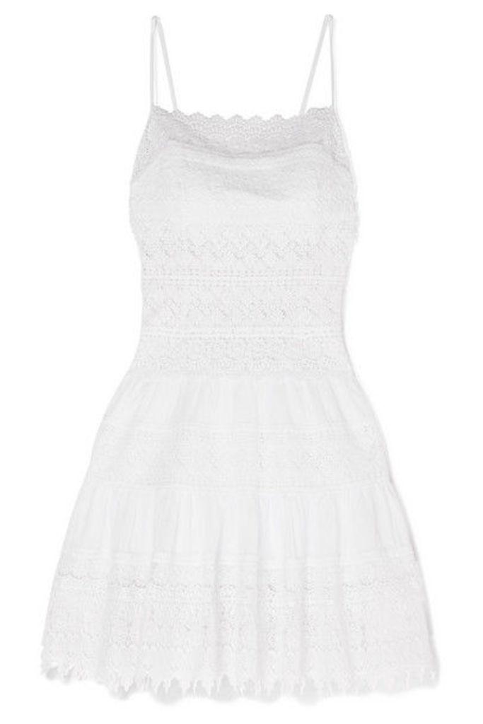Charo Ruiz - Joya Crocheted Lace-paneled Cotton-blend Mini Dress - White