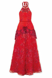 Marchesa Notte - Embroidered Neoprene, Point D'esprit And Guipure Lace Gown - US2
