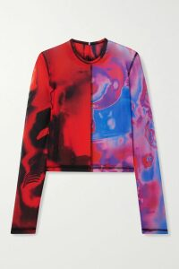 Prada - Printed Pleated Cotton-poplin Dress - Red