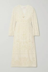 MM6 Maison Margiela - Pleated Metallic Faux Leather Midi Skirt - Silver