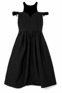 Fendi - Cold-shoulder Velvet-trimmed Wool And Silk-blend Midi Dress - Black