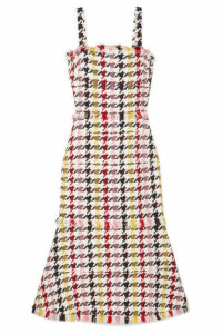 Oscar de la Renta - Fringed Houndstooth Wool-blend Tweed Dress - Red