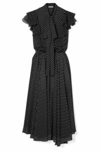 Michael Kors Collection - Ruffled Polka-dot Silk-georgette Midi Dress - Black