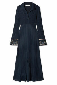 Chloé - Printed Georgette-trimmed Ribbed Stretch-knit Midi Dress - Navy