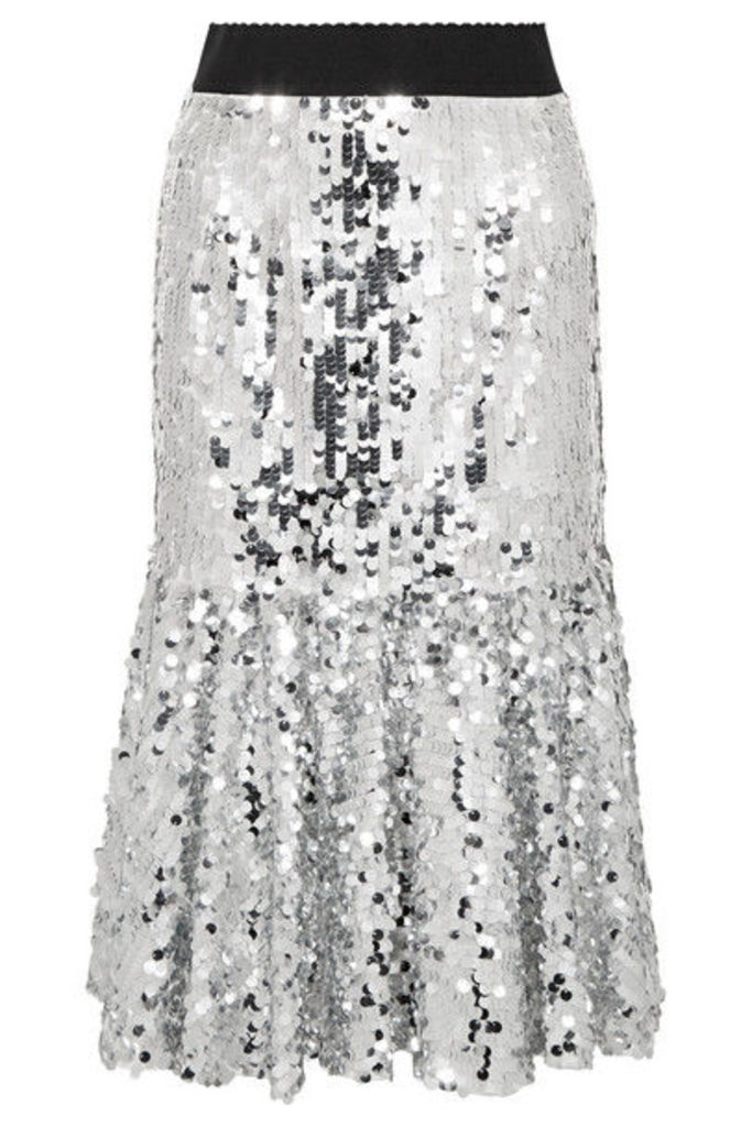 Dolce & Gabbana - Paillette-embellished Tulle Midi Skirt - Silver