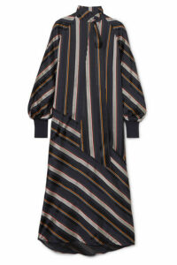 Roksanda - Odelle Striped Satin-jacquard Maxi Dress - Midnight blue