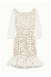Rime Arodaky - Gillian Ruffled Lace Mini Dress - White