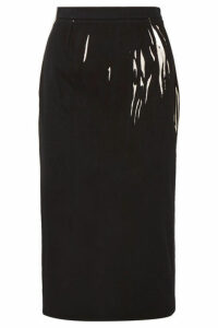 Prada - Printed Denim Midi Skirt - Black