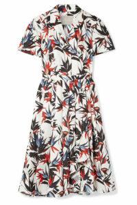 Jason Wu Collection - Pleated Printed Cotton-poplin Dress - White