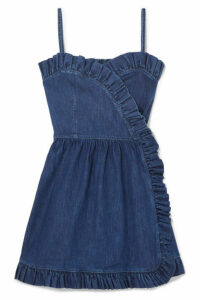 Stella McCartney - Ruffled Denim Wrap Mini Dress - Blue