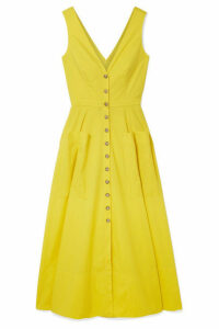 Saloni - Zoey Cutout Stretch-cotton Poplin Midi Dress - Yellow