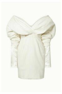 Danielle Frankel - Off-the-shoulder Silk And Wool-blend Mini Dress - Cream