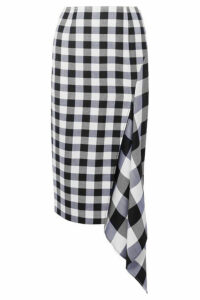 Monse - Asymmetric Gingham Wool And Cotton-blend Midi Skirt - Black