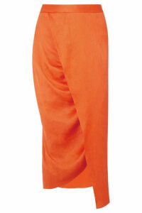 Sies Marjan - Wrap-effect Plissé Silk-satin Midi Skirt - Orange
