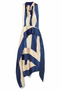 Petar Petrov - Asymmetric Striped Silk-satin Midi Dress - Royal blue