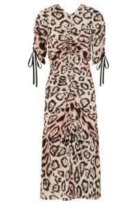 alice McCALL - Animale Ruched Leopard-print Silk Crepe De Chine Midi Dress - Beige