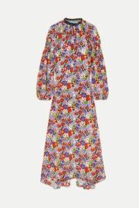 Prada - Lace-trimmed Shirred Floral-print Silk-crepe Midi Dress - Lilac