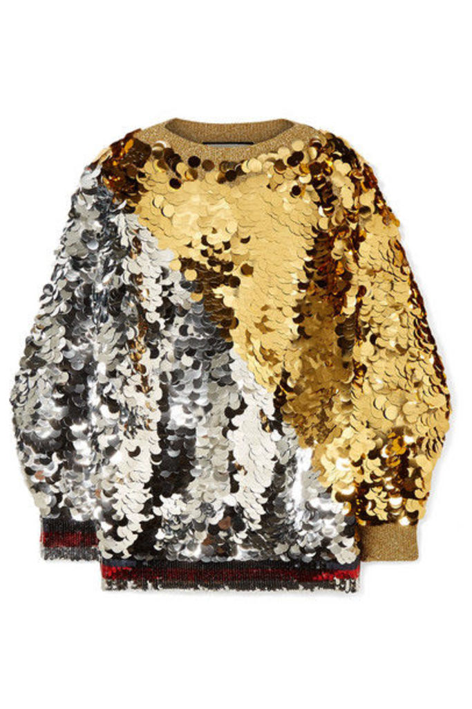 Gucci - Embellished Metallic Knitted Sweater - Gold