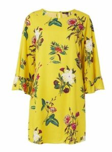 Womens **Only Yellow Floral Print Shift Dress- Yellow, Yellow
