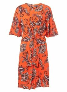 Womens **Tall Red Paisley Print Fit And Flare Dress- Red, Red