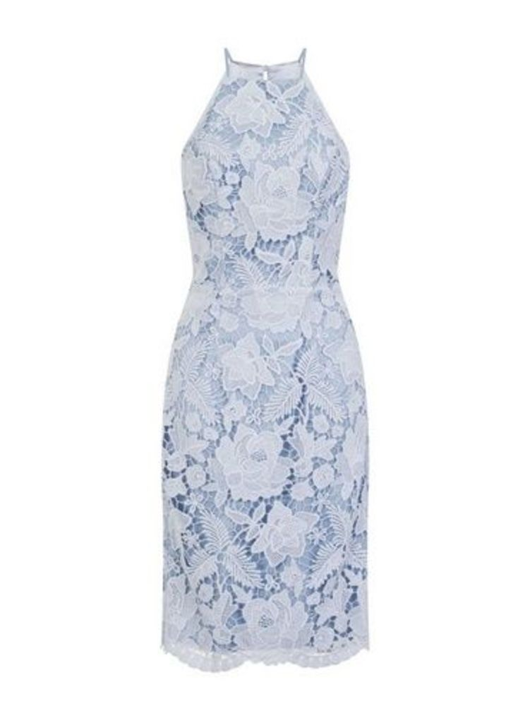 Womens *Chi Chi London Blue Embroidered Bodycon Dress- Blue, Blue