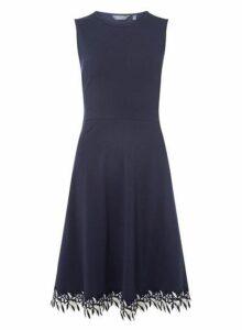 Womens **Tall Navy Lace Hem Skater Dress- Blue, Blue