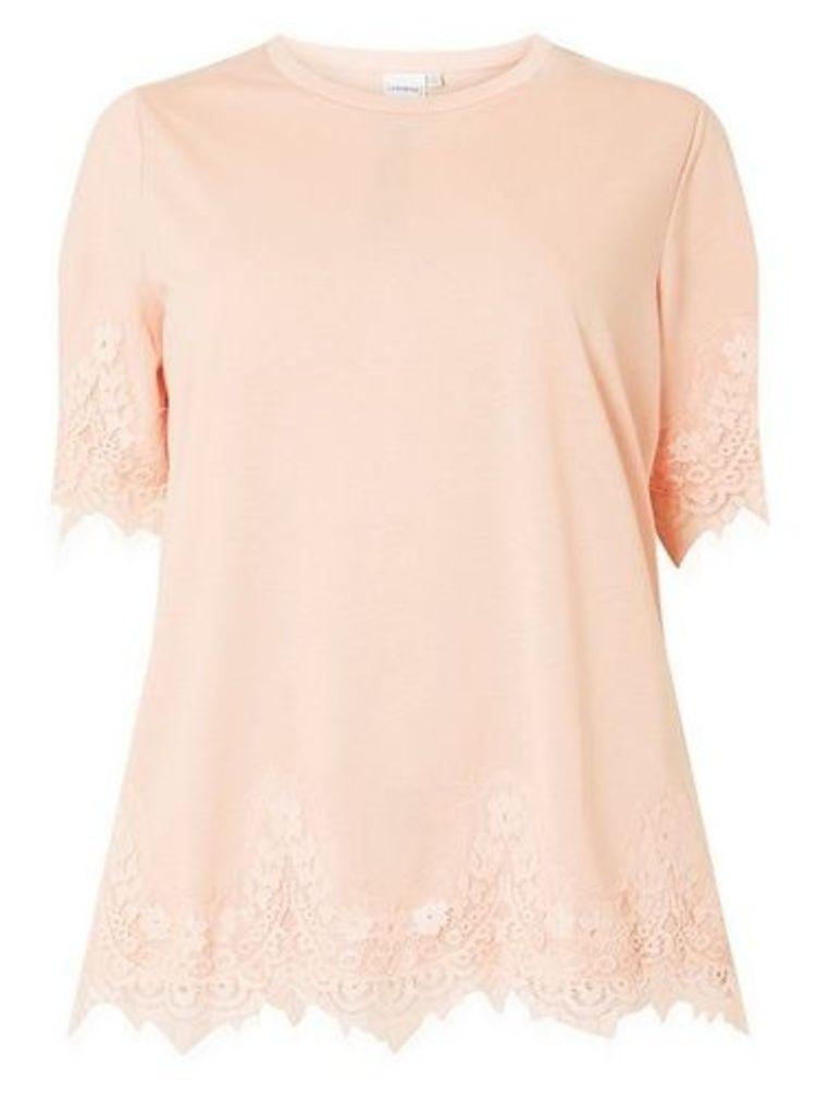 Womens **Juna Rose Curve Blush Lace T-Shirt- Blush, Blush