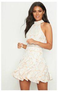 White Thick Lace High Neck Binding Detail Skater Dress, White