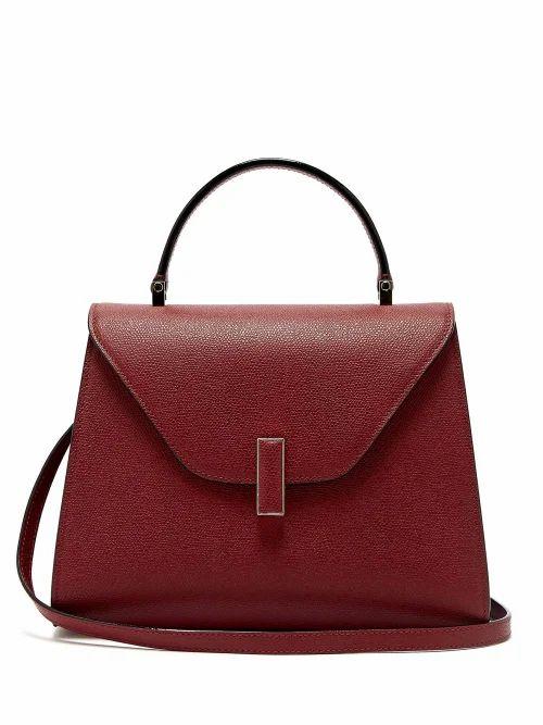 Valextra - Iside Medium Grained Leather Bag - Womens - Burgundy