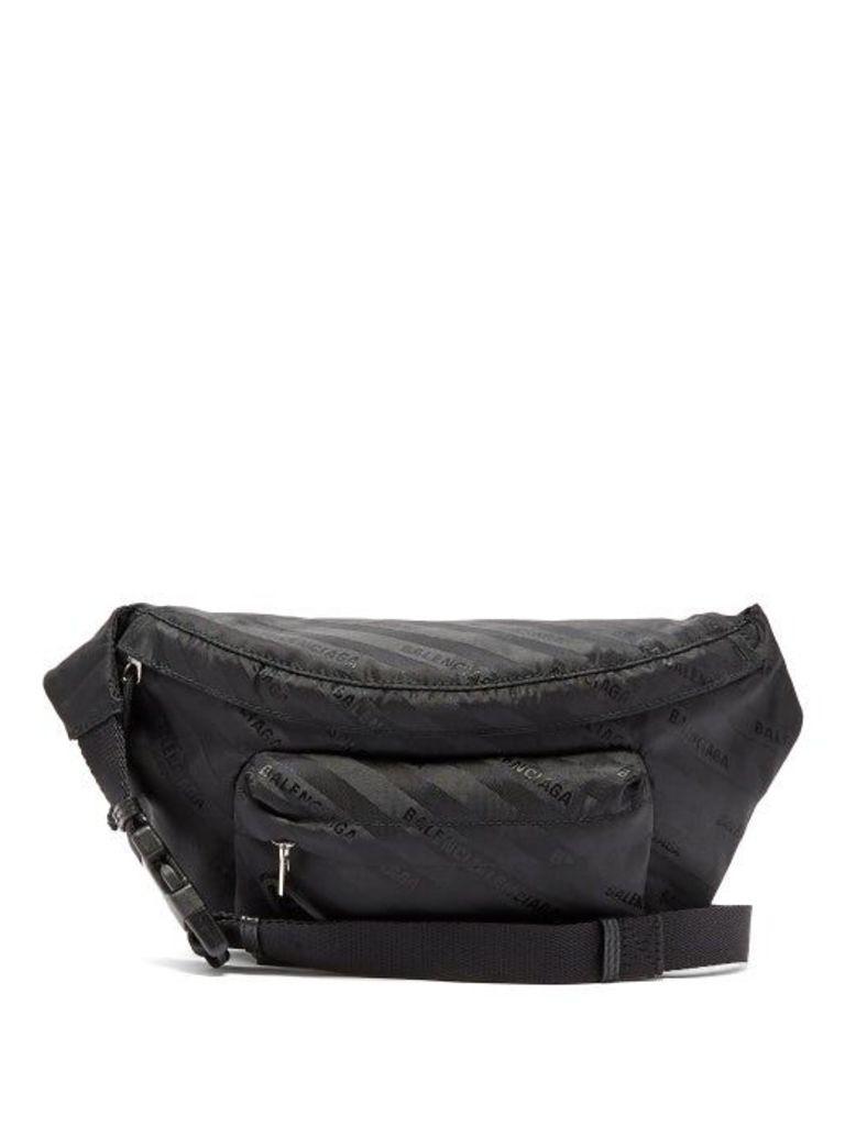 Balenciaga - Striped Logo Belt Bag - Womens - Black