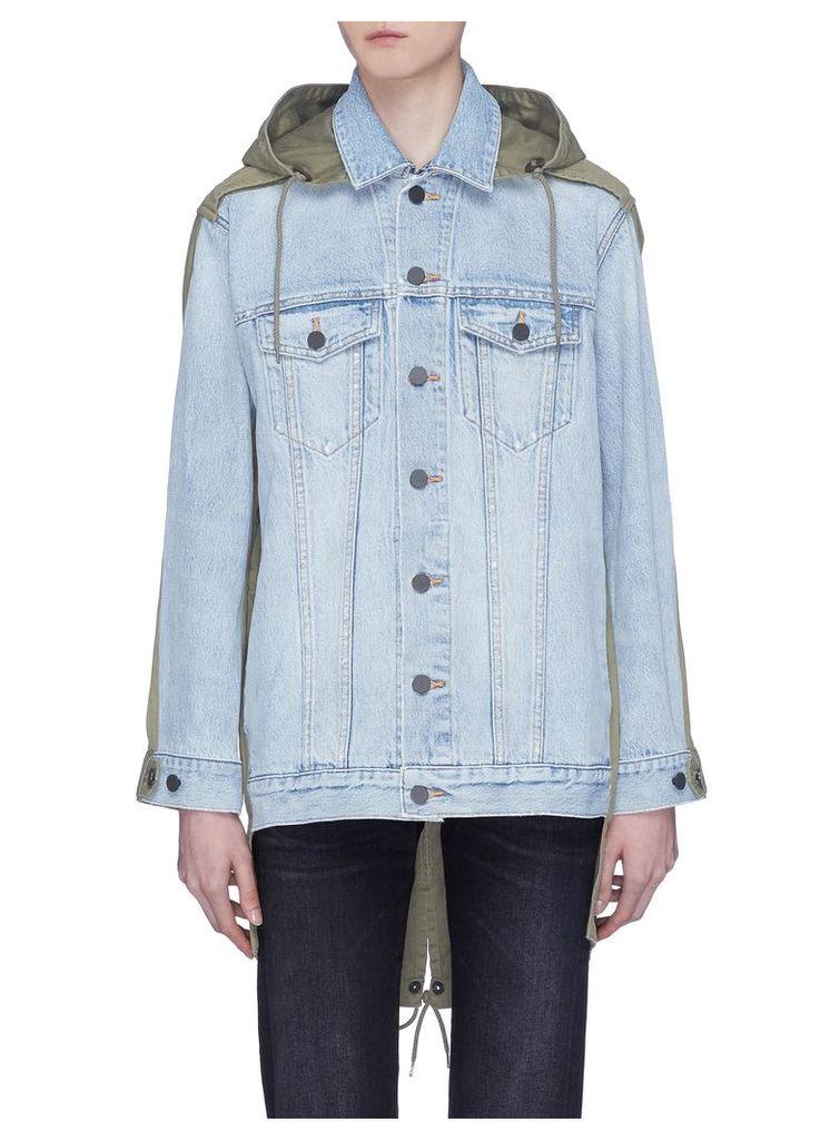 Hooded parka back panel denim jacket