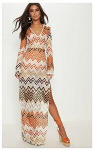 Burnt Orange Chevron Print Lace Maxi Dress, Orange