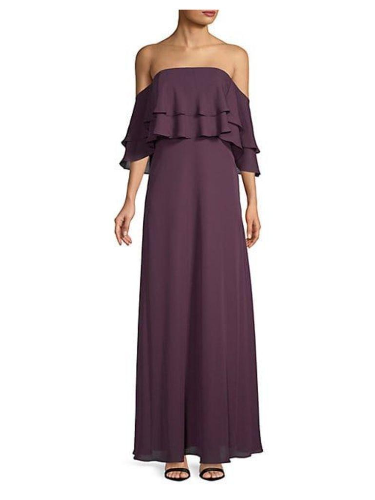 Ruffled Off-The-Shoulder Popover Dress