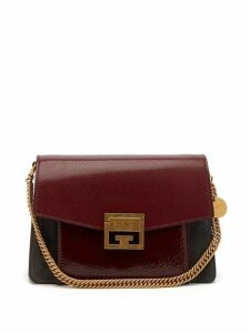 Givenchy - Gv3 Small Suede And Leather Cross Body Bag - Womens - Burgundy Multi
