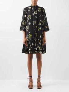 Fendi - Heart Embroidered Tie Neck Silk Shirt - Womens - Yellow