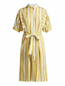 Thierry Colson - Iolanda Striped Cotton Dress - Womens - Yellow Multi