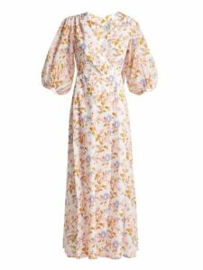 Thierry Colson - Phoebe Floral Print Cotton Maxi Dress - Womens - Pink White