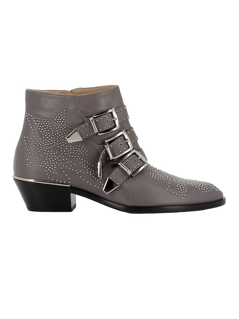 Chloe' Grey Leather Ankle Boots