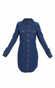 Dark Wash Button Up Denim Shirt Dress, Dark Blue Wash