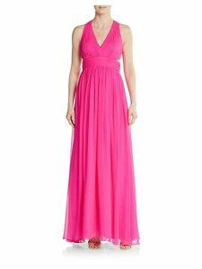 Silk Chiffon Open-Back Gown