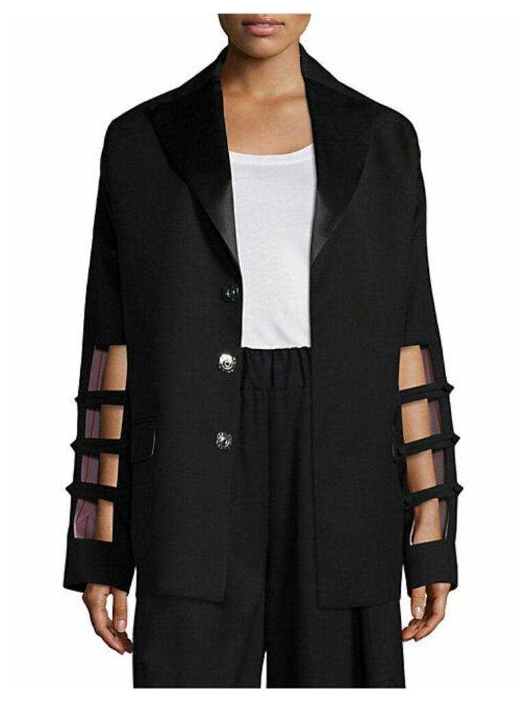 Cutout Sleeve Wool Blazer