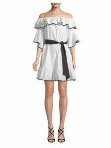 Off-The-Shoulder Flounce Tie Dress