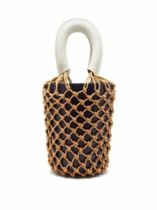Staud - Moreau Macramé And Leather Bucket Bag - Womens - Navy Multi
