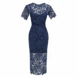Sarvin - Hannah Guipure Lace Short Sleeve Midi Dress