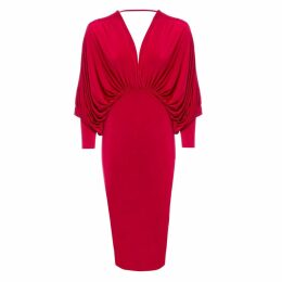 Sarvin - Lea Red Plunge Front and Back Batwing Midi Dress